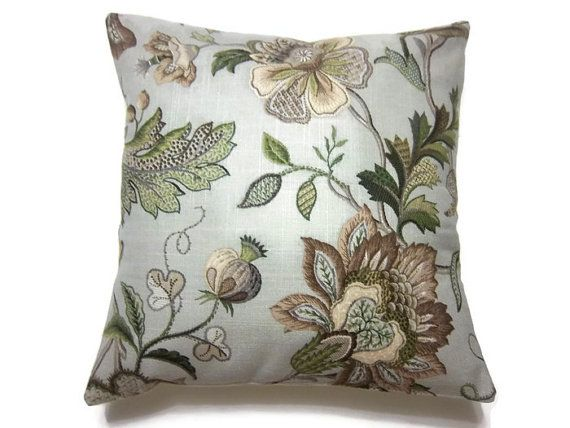 Decorative Pillow Cover Olive Green Taupe Brown Gray Handmade Floral Toss Throw Accent 16 Inch 17 50 Green
