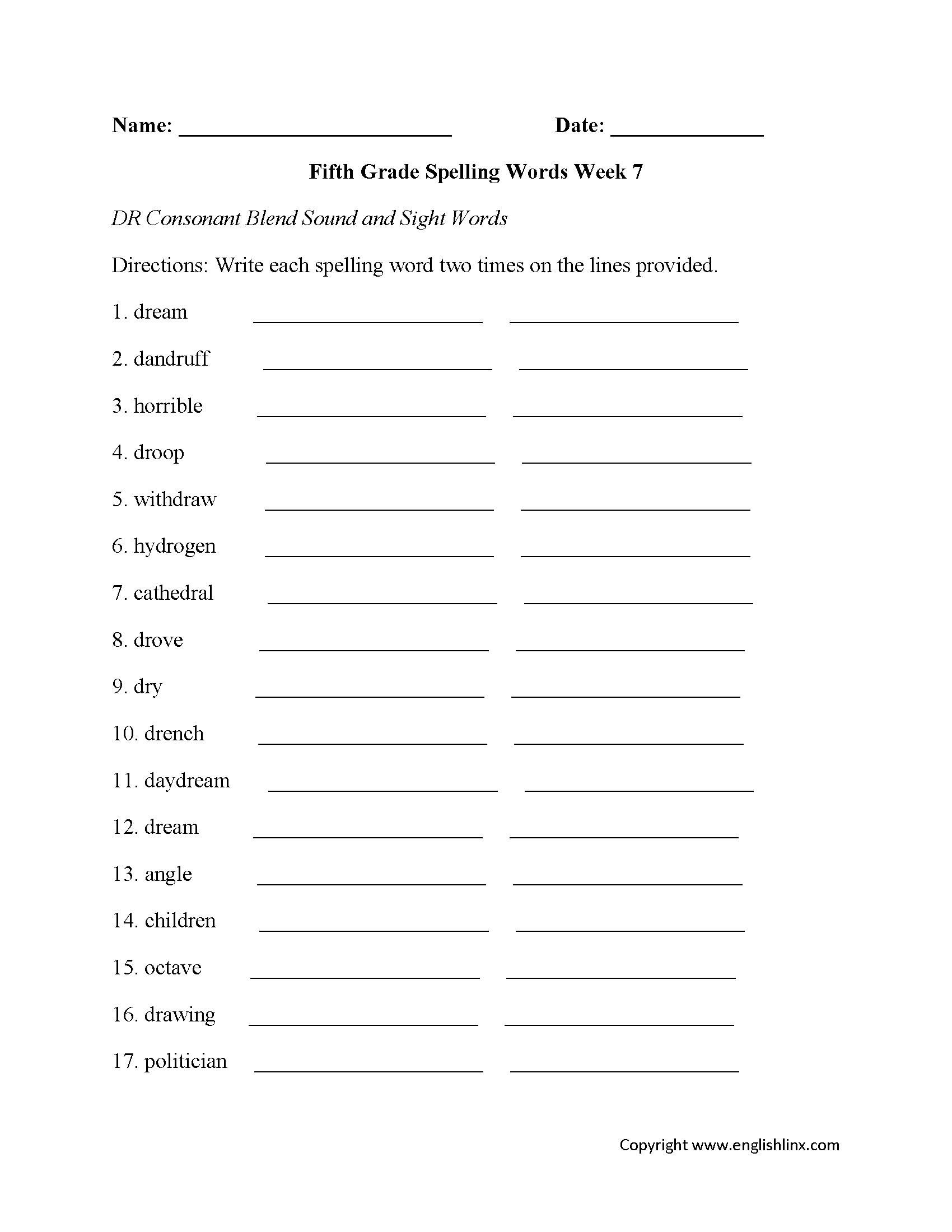 Week 7 Dr Consonant Fifth Grade Spelling Worksheets