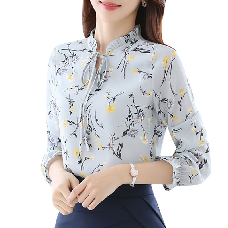 Blusas Women Tops Blouses Ladies Chiffon Long Sleeve Floral Shirt Women  Slim Camisas Mujer Plus Size