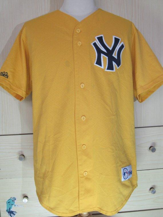 0200ed3a Vintage Majestic New York Yankees NY Usa Jersey MLB Baseball shirt Mesh  Yellow 1990s L