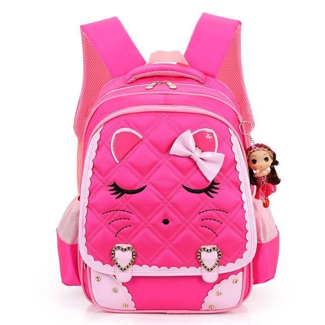 Cute Cartoon Cat Girls School Bags Princess Pink Nylon Children Backpacks  For Primary School Students Schoolbag Kids Satchels dca4682b7a040