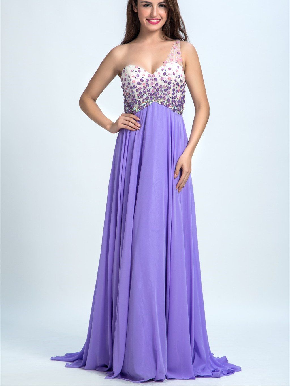 A-line Sweetheart Sweep Train Chiffon Rhine Stone Light Purple Prom ...