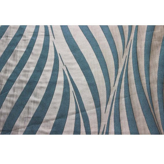 Teal Stripes Curtain Fabric Upholstery Fabric by FabricMart ...