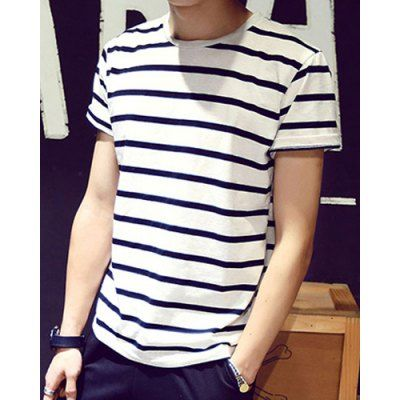 Loose Fit Round Neck Color Block Stripes Short Sleeves T-Shirt For Men #shoes, #jewelry, #women, #men, #hats, #watches