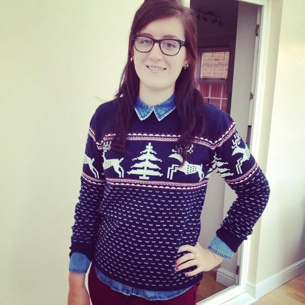 Meet the family - Katie our marketing superwomen #christmasknit #denim #berry