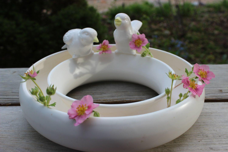Vintage Ivory White Ceramic Posy Ring Vase Floral Centerpiece Traditional Vases Floral Centerpieces White Ceramics