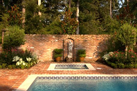 pool area with charming brick floor and walls