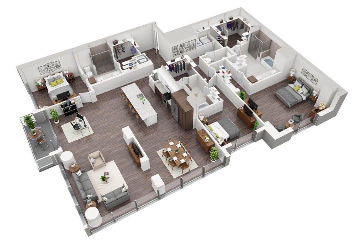 Plan C1 3 Bedroom 3 5 Bath House Floor Design Model House Plan Apartment Floor Plan