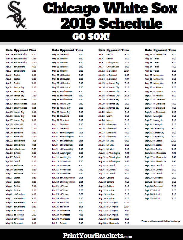 Chicago White Sox 2019 Schedule Printable 2019 Chicago White Sox Schedule | Printable MLB
