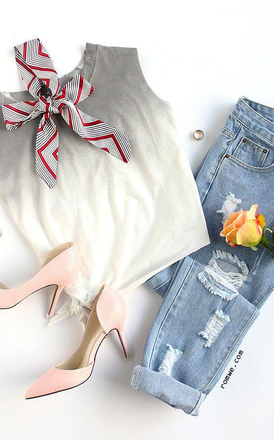 Grey Ombre Side Tie Sleeveless Top | garments in 2019 ...