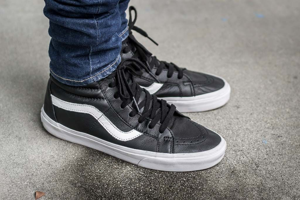 See how these Vans Sk8-Hi Premium Leather in Black look on feet in this  video review. Find out where you can buy these Vans Sk8-Hi Premium Leather  online! 3c4bc673619f