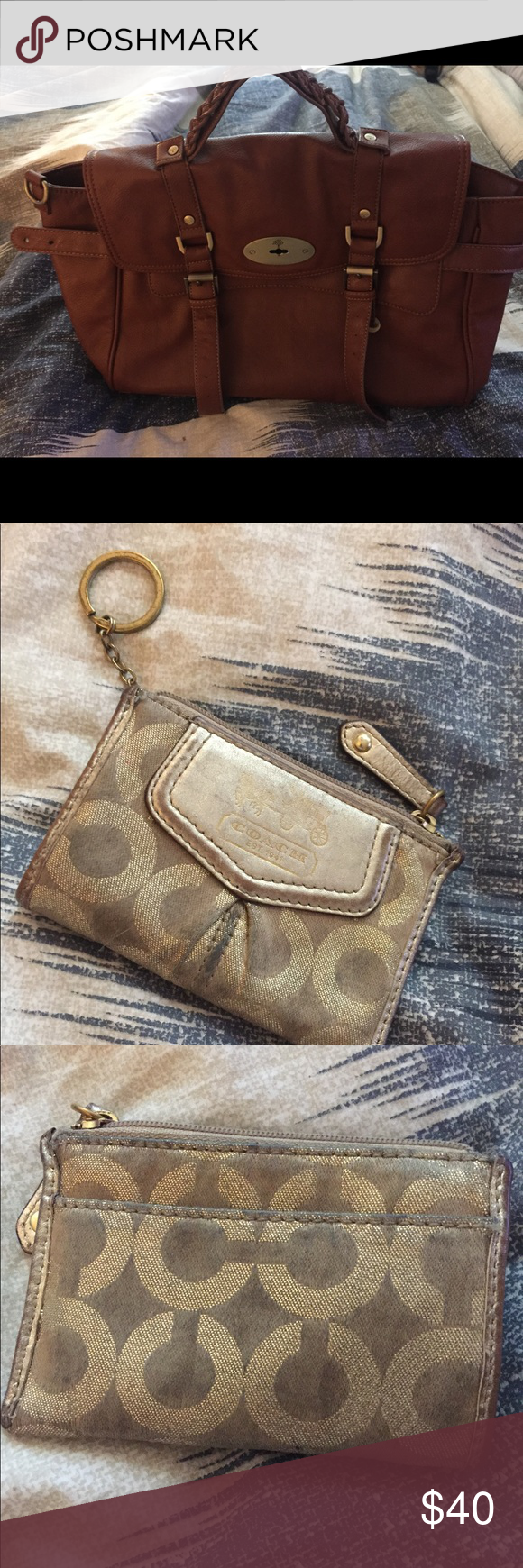 Authentic coach coin purse. Copycat mulberry Authentic coach gold coin purse  and not authentic mulberry combo. Coin purse well used. Gold. Bag hardly  used ... 4762eb4c09b3f