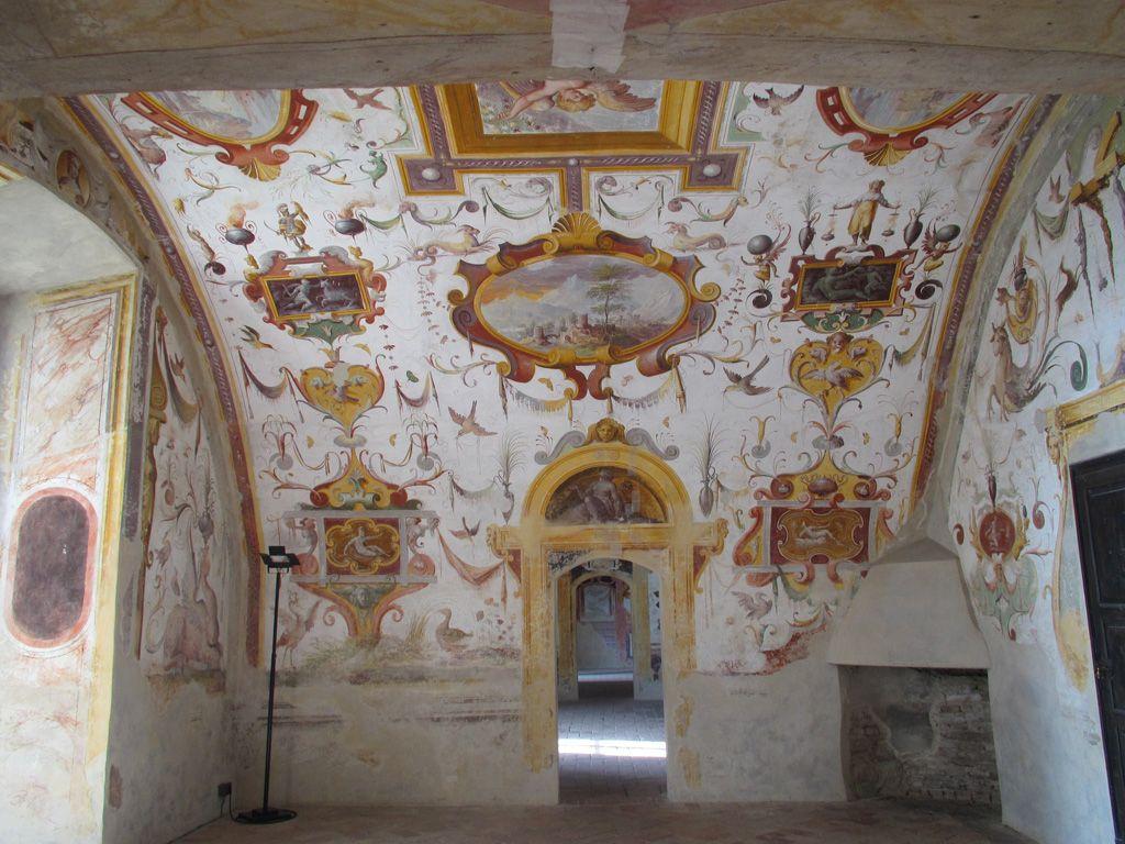Extraordinary secular frescoes by Benedetto Bembo - Torrechiara castle. 44°39′20″N 10°16′25″E