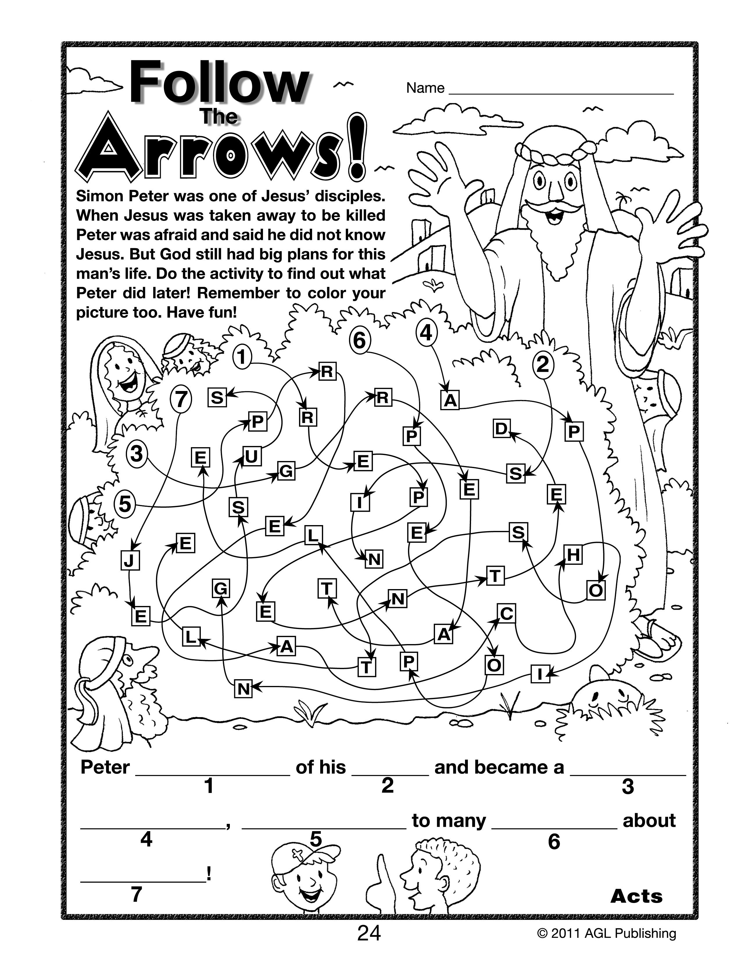 Childrens coloring sheet of saul and ananias - Nt 3rd 4thpg24