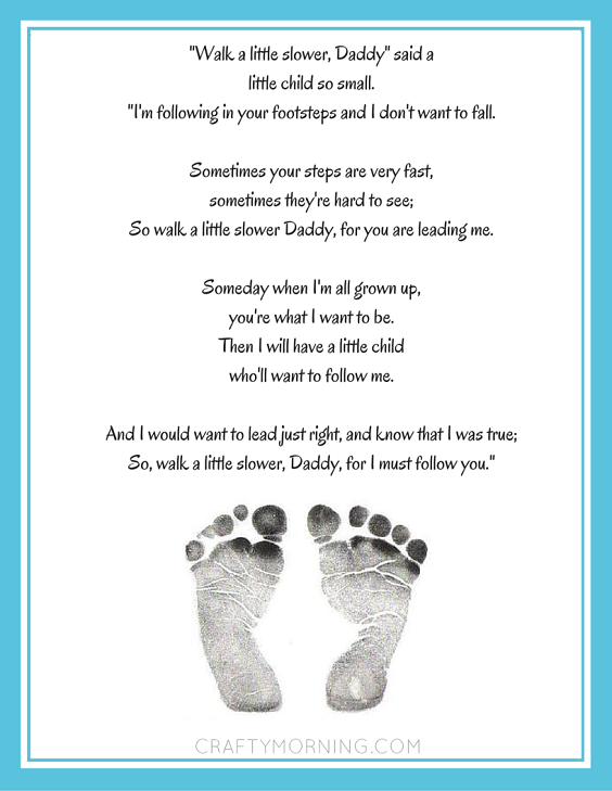 photo relating to Walk With Me Daddy Poem Printable referred to as Stroll a Very little Slower, Daddy\