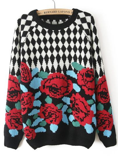 Black Long Sleeve Diamond Patterned Floral Sweater pictures