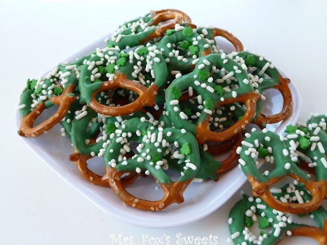 Easy St. Patty's Day chocolate covered pretzels from Mrs. Fox's Sweets