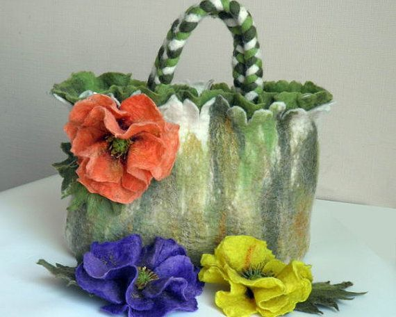 felted wool purse Dream Poppies purse felted with by crafts2love, $155.00