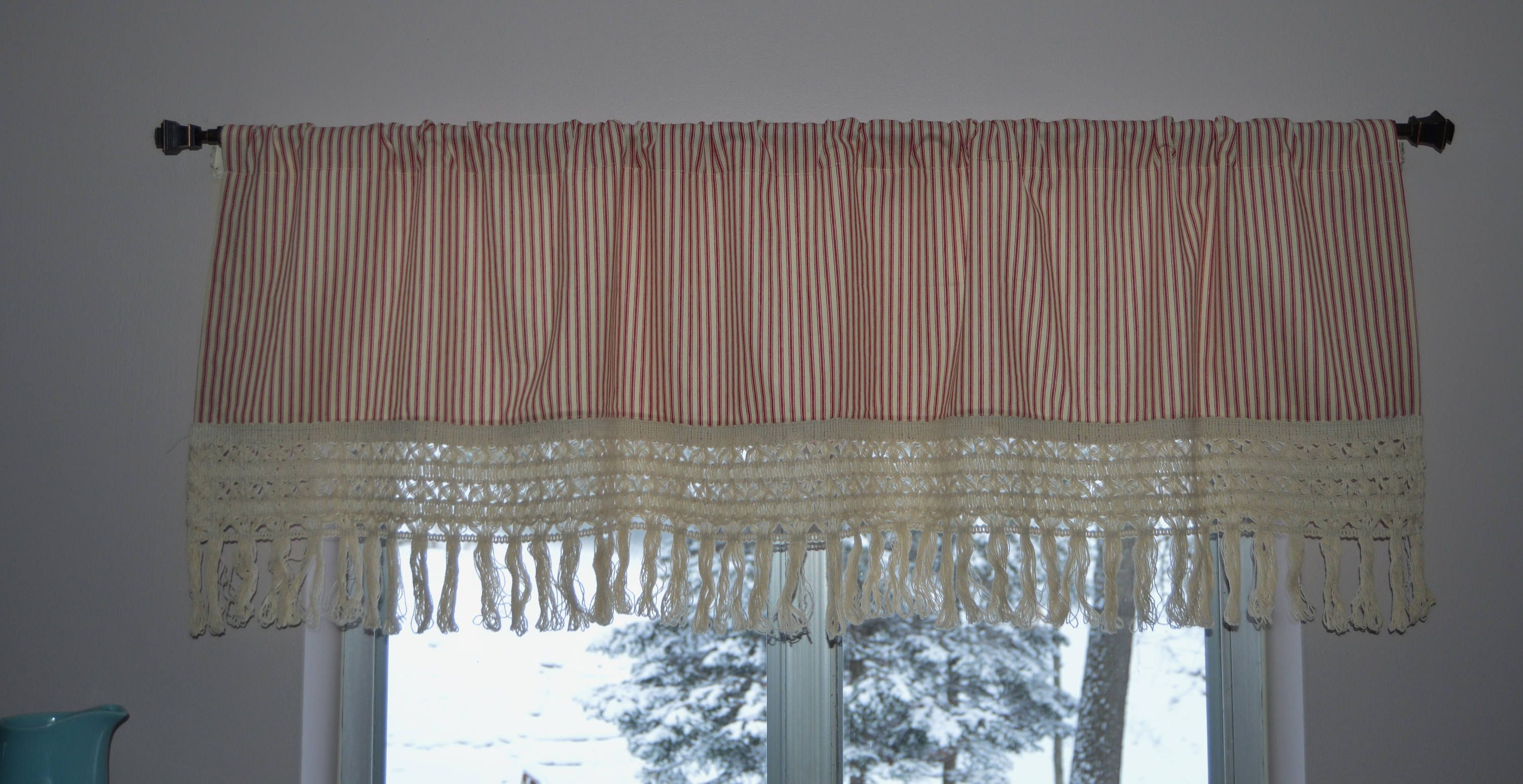 Red Stripe Valance With Large Lace Trim Boho Kitchen Curtains By PrettyLittleValances On Etsy