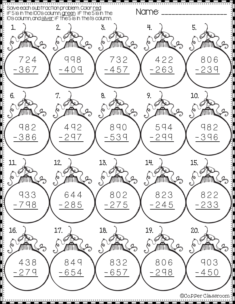 Christmas 3 Digit Subtraction With Regrouping Printables Subtraction Practice Subtraction Christmas Math [ 1056 x 816 Pixel ]