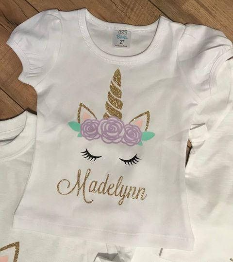 Unicorn Birthday Shirt Personalized Party Glitter Floral