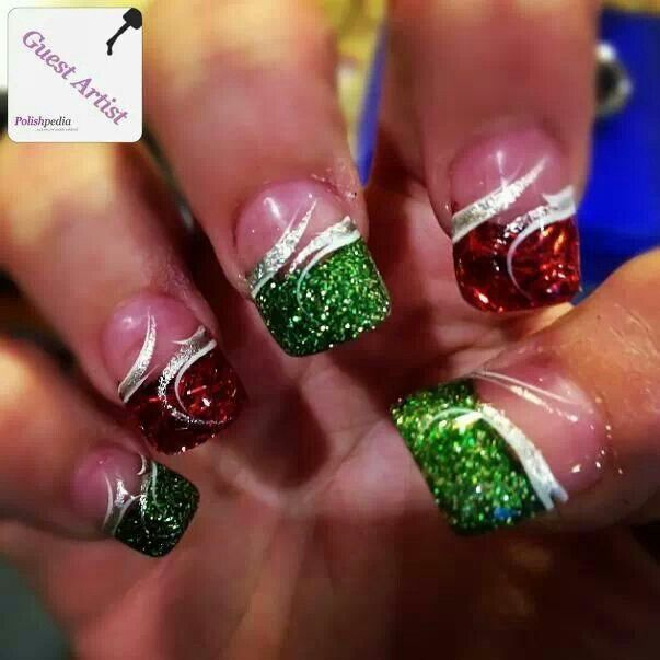 Red And Green Glitter Nails Silver Swirls Christmas Design Christmas Nails Acrylic Christmas Nails Nail Designs