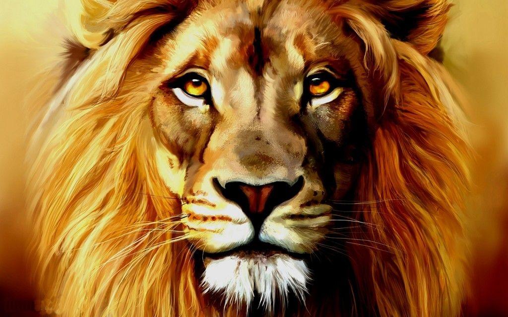 Portrait Lion Painting Lion Artwork Lion Canvas