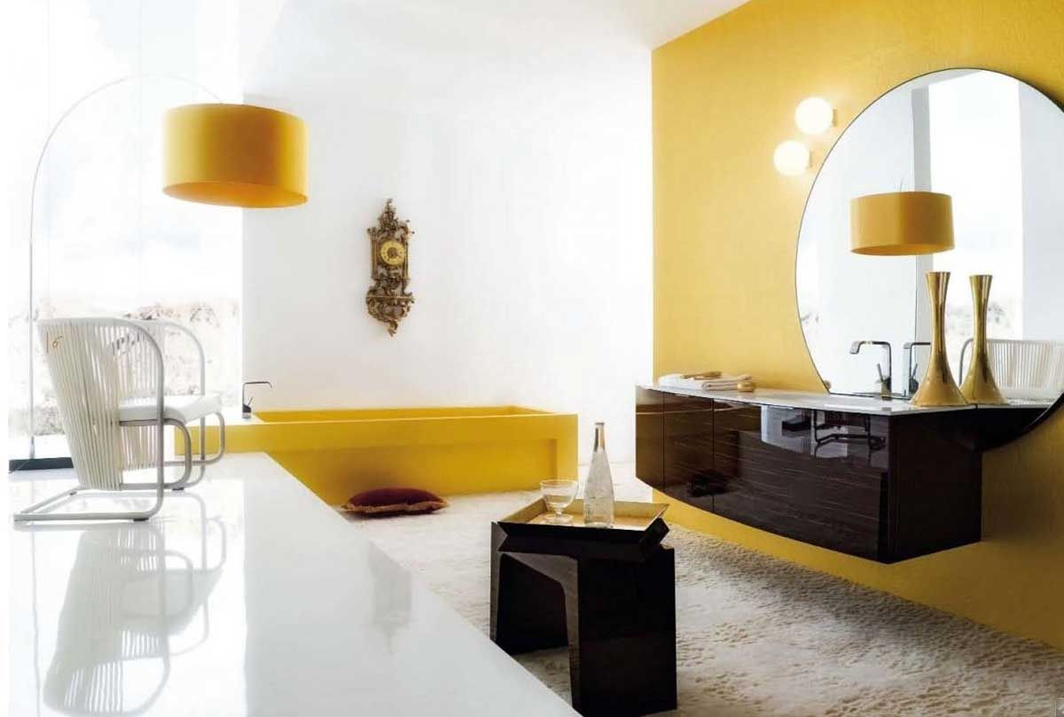 Yellow accent wall in bathroom. | For the Home | Pinterest | Yellow ...