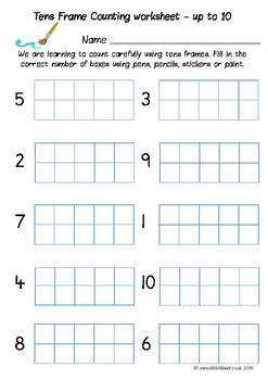 Eight Tens Frame Counting Worksheets To Practise Counting Carefully To 10 Or 20 Students Dab Pens Draw Do Ten Frame Counting Worksheets Literacy And Numeracy
