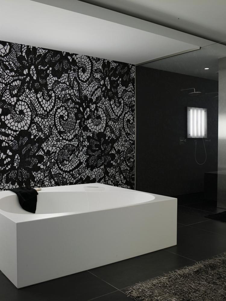 Papier peint noir 40 id es pour un design mural spectaculaire salle de bain bathroom - Papier peint pour salle de bain ...