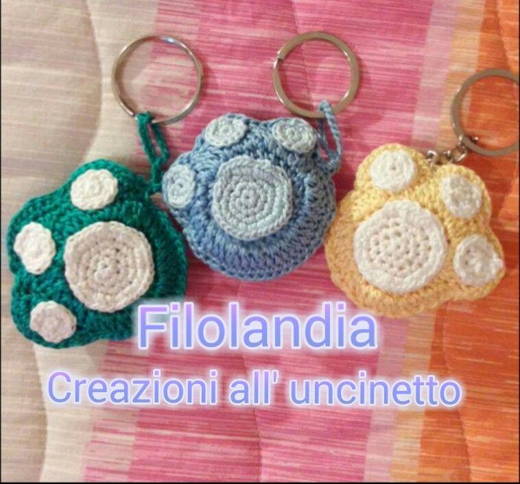 Portachiavi zampa #dog #animal #zampa #uncinetto #crochet #handmade
