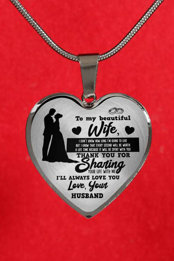 To My Beautiful Wife Always Love You Your Husband Luxury Heart Shape Necklace Anniversary Gift For Wife Anniversary Gifts For Wife Birthday Gift For Wife Gifts For Wife