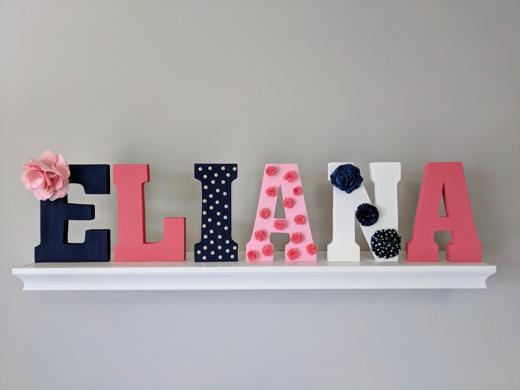 Eliana Name Decor Wall Letters Wall Hanging Or And Stand Alone Wooden Letters For Name Painte Wood Letter Wall Decor Wooden Letters Diy Letter Wall Decor