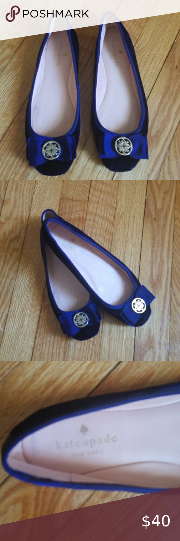 Kate Spade Navy Blue Flats Size 6.5M in