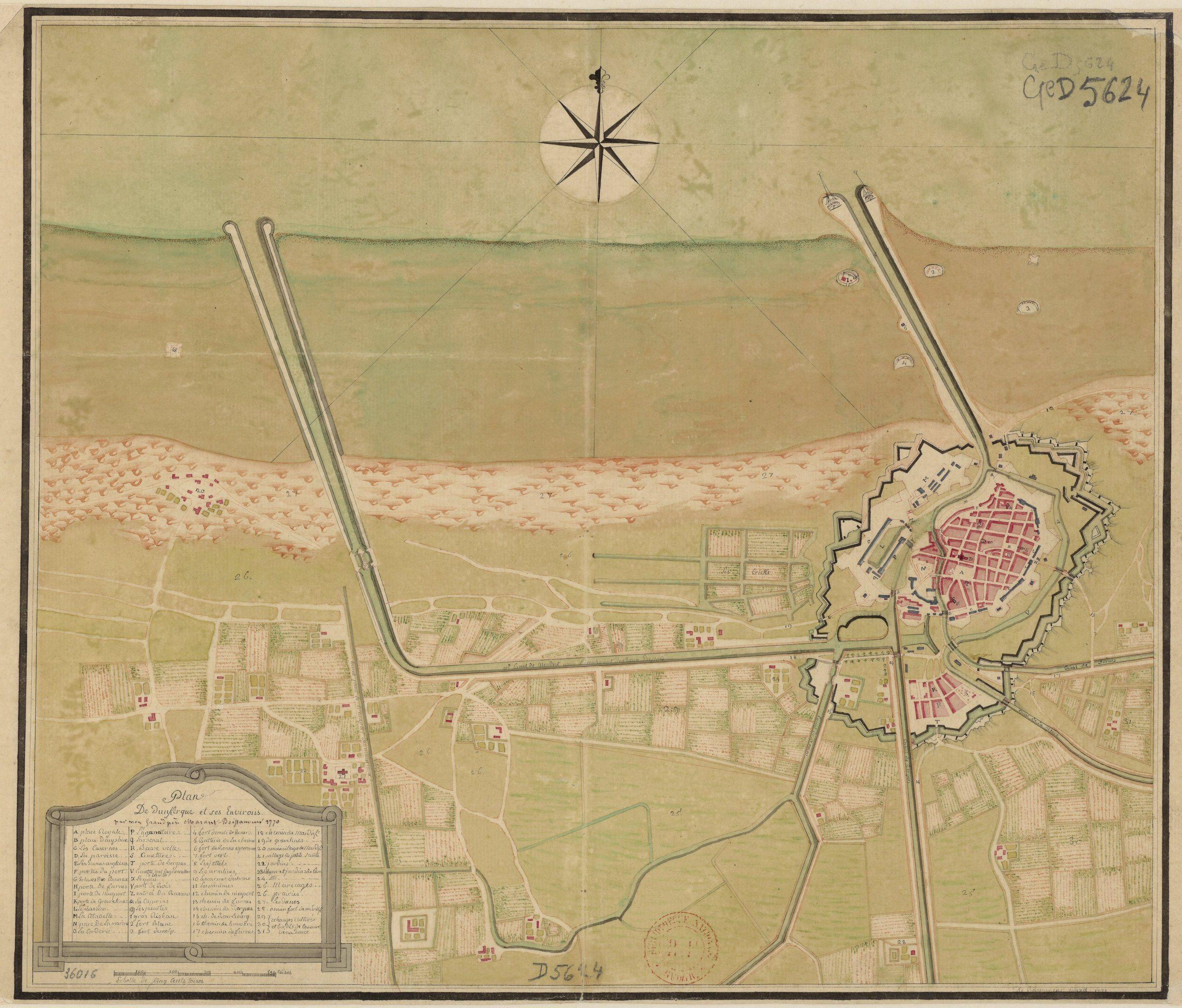 Plan De Dunkerque Et Ses Environs  1770