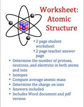Atoms And Atomic Structure Worksheet  Worksheets Atoms And