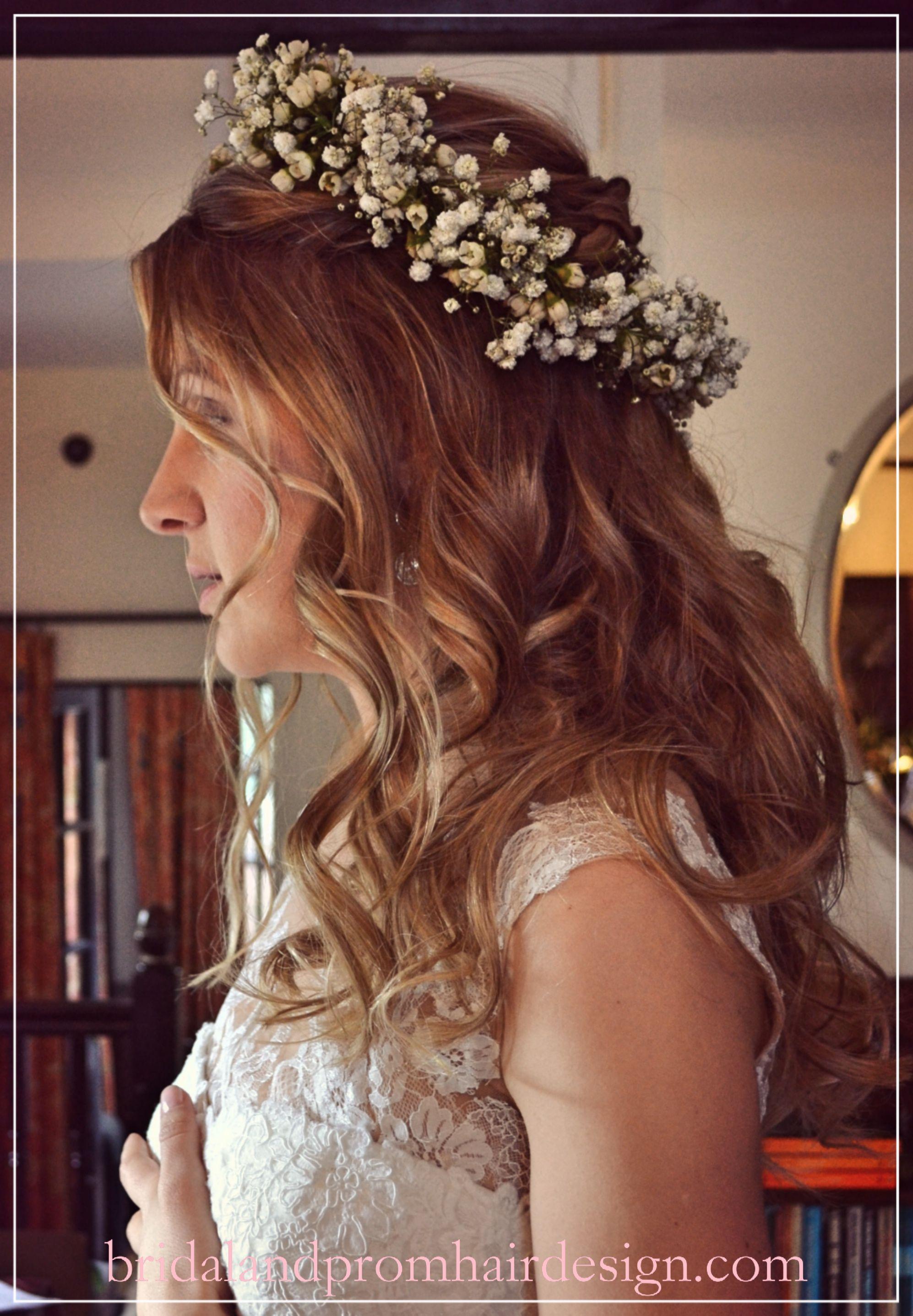 wedding hair, prom hair, flower crown, boho half up half
