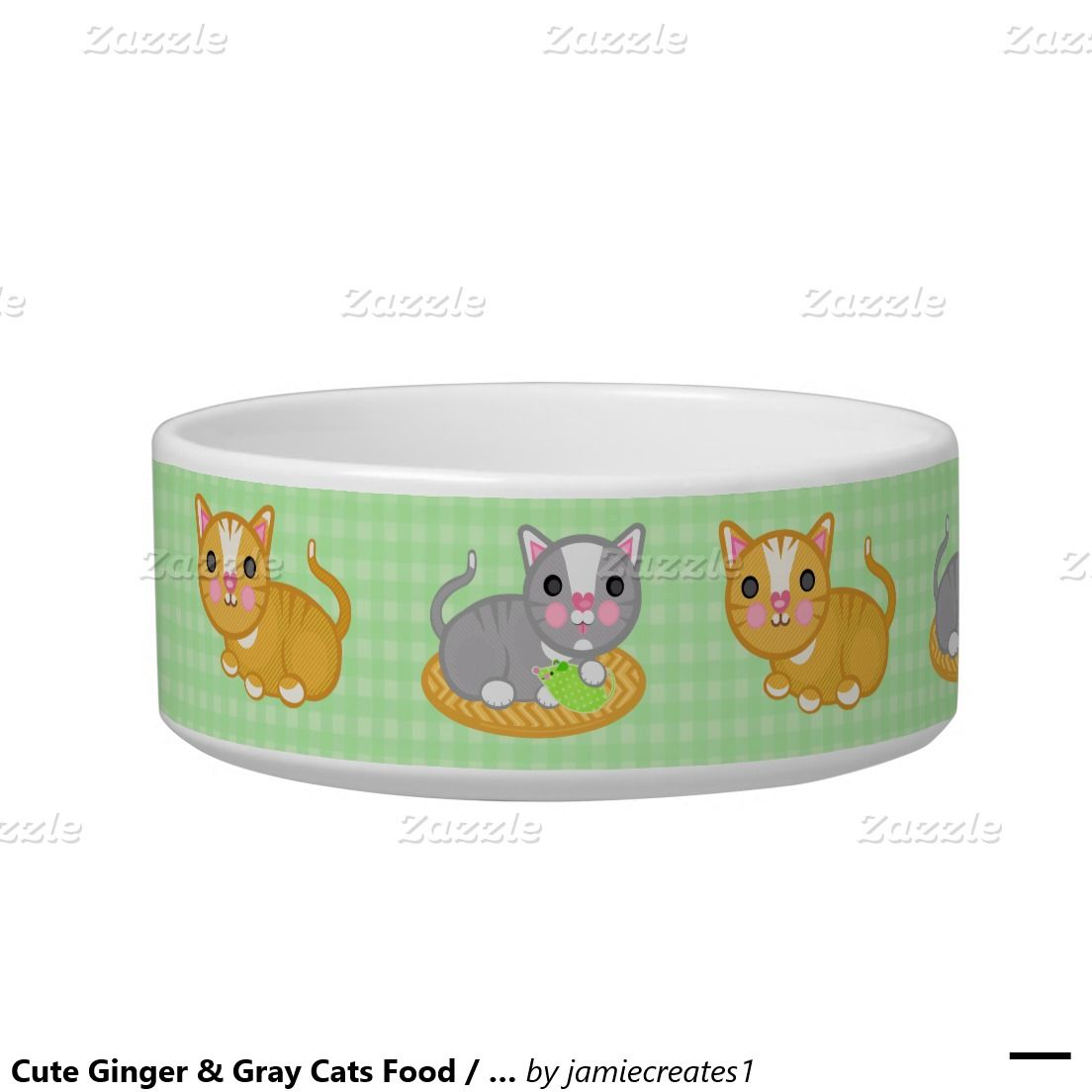 Cute Ginger Gray Cats Food Water Pet Bowl Zazzle