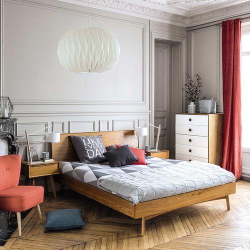 Lit large style vintage avec tête de lit en bois / Vintage wood ...