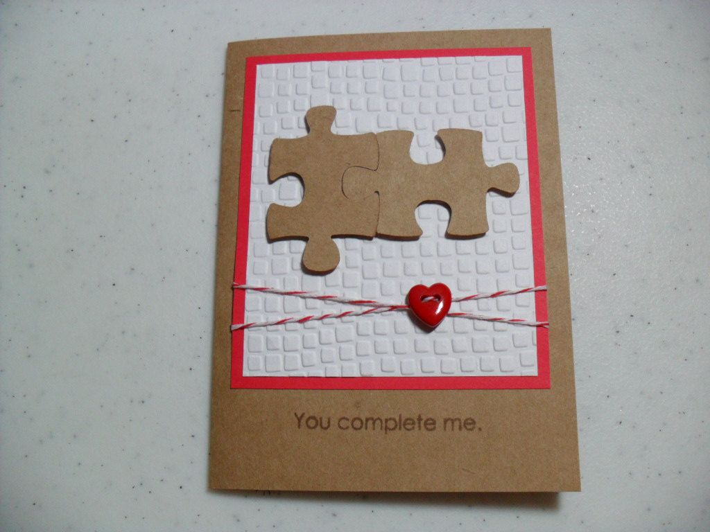 Handmade anniversary card puzzle pieces you complete me the handmade anniversary card puzzle pieces you complete me the original negle Images