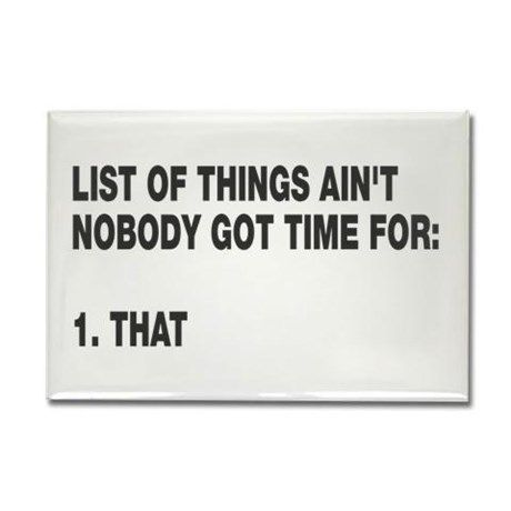 Lol Aint nobody got time for Rectangle Magnet on CafePress.com