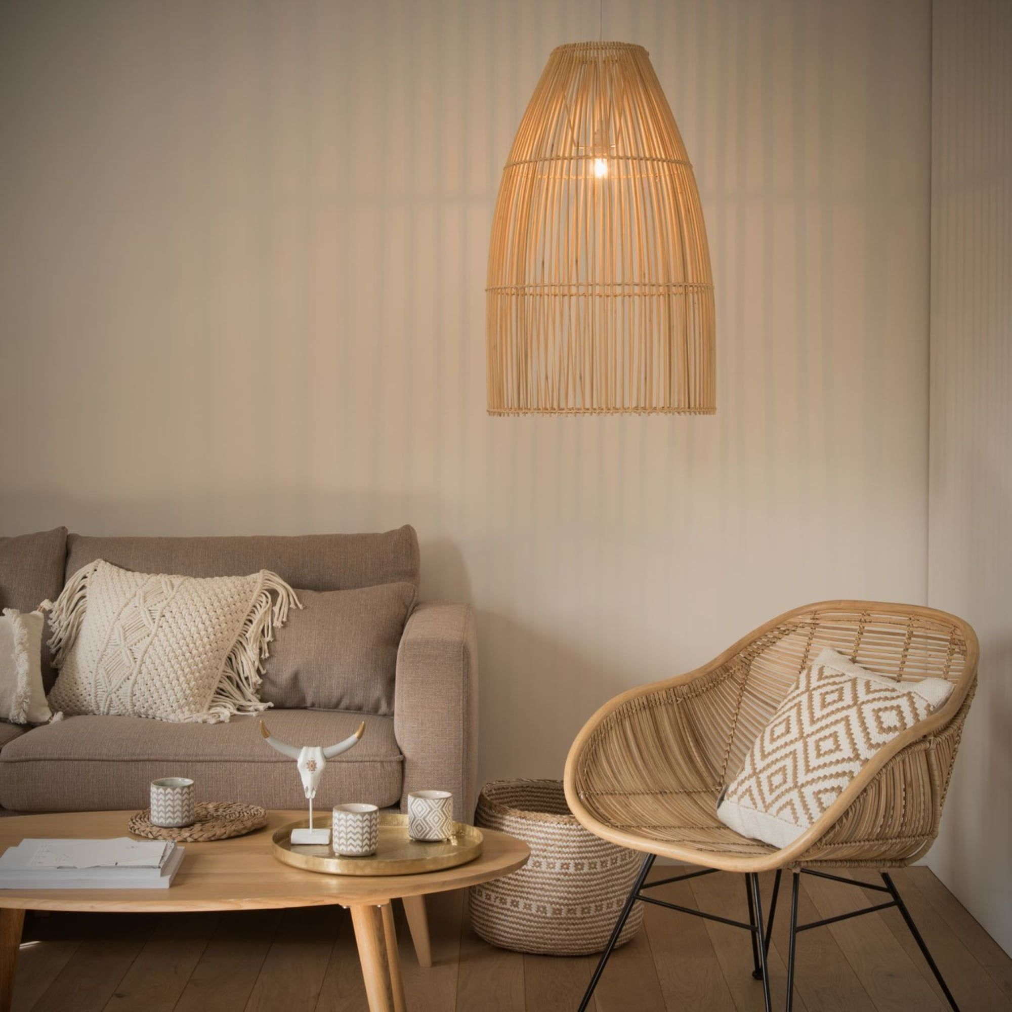 La Maison Du Monde Bilbao white metal and woven rattan pendant in 2020 | living room