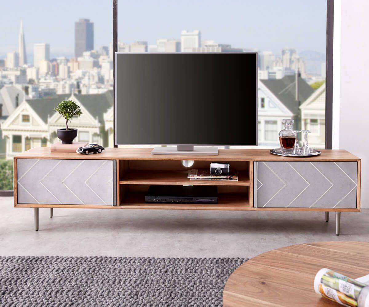 Lowboard Metropolitan 200 Cm Akazie Natur Beton Edelstahl Tv