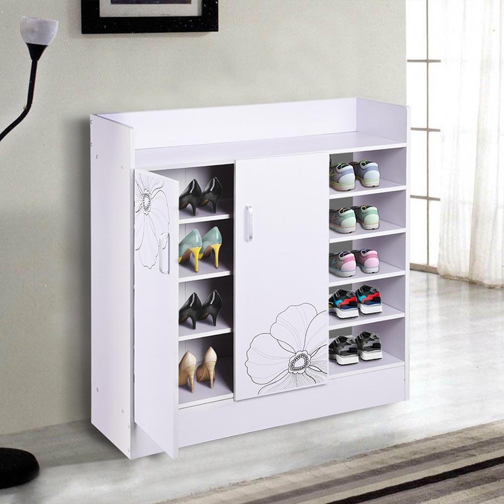 Hallway furniture shoe storage   Pairs Double Door Shoes Cabinet Organizer Color Options  Cabinet