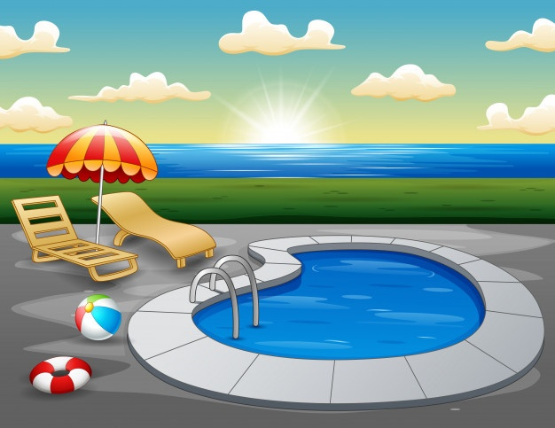 Landscape Of Swimming Pool On The Beach In The Morning Pool Drawing Pool Swimming Pools