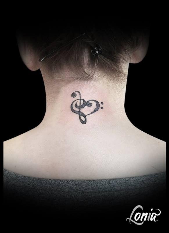 Clé De Sol Clé De Fa : Tatouage, Lonia, Tattoo, Musique, Coeur, Nuque, Dotwork, Behind, Tattoo,, Tattoos,