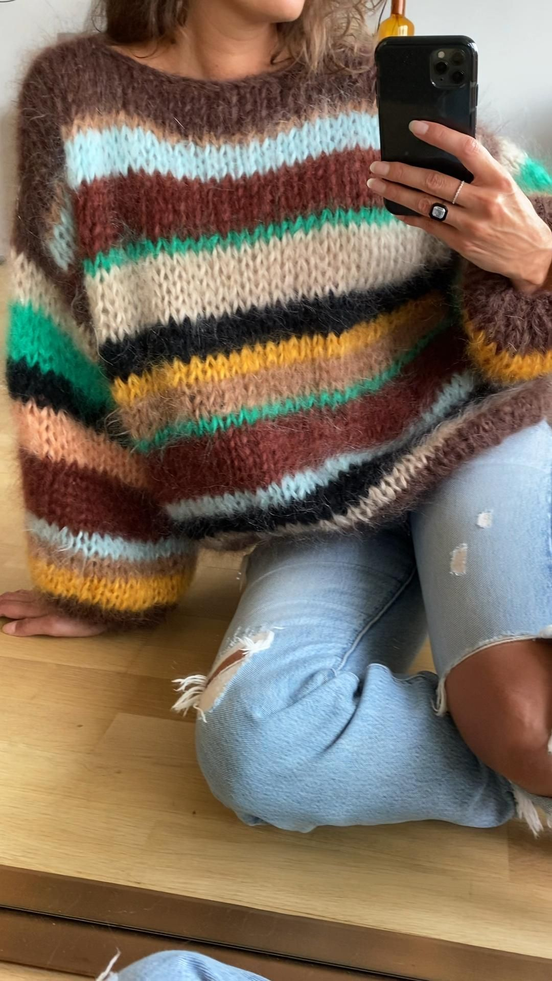 Mohair sweater with stripes in brown yellow mint a