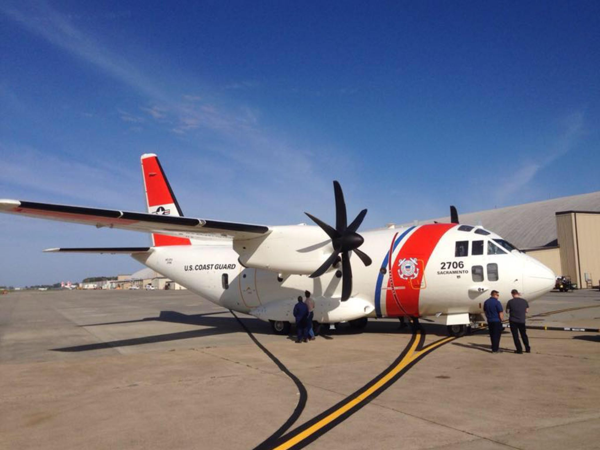 The Newly Painted U S Coast Guard C 27j Spartan Heading To