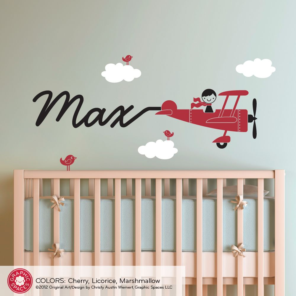 Airplane skywriter name boy wall decal nurseries baby airplanes airplane skywriter name boy wall decal amipublicfo Images