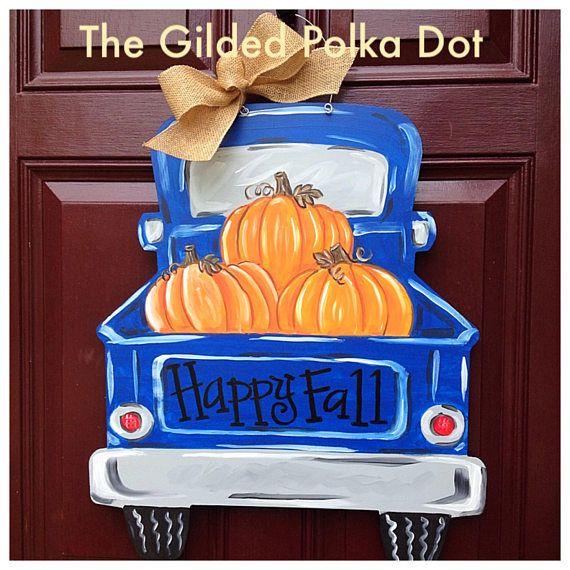fall door hanger fall door decor painted pumpkin turkey door hanger, Pumpkin truck wood door hanger fall door hanger